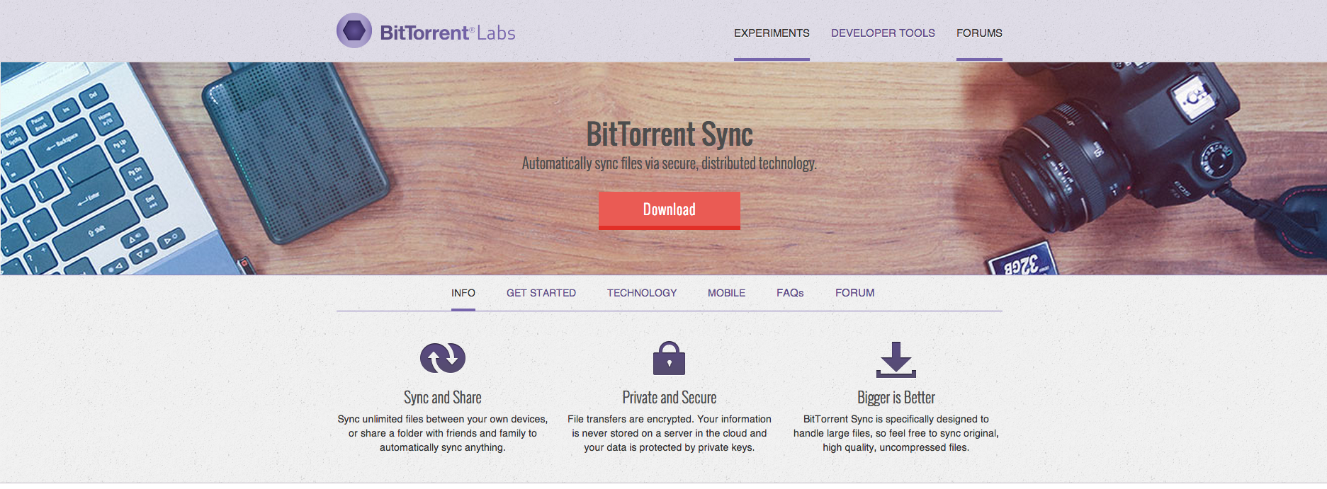BitTorrent Sync site