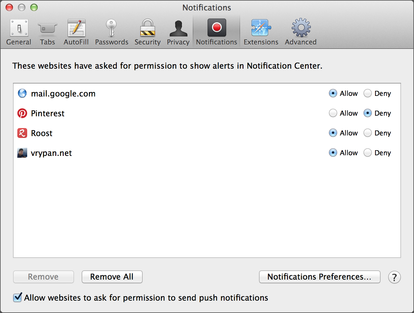 safari notification preferences