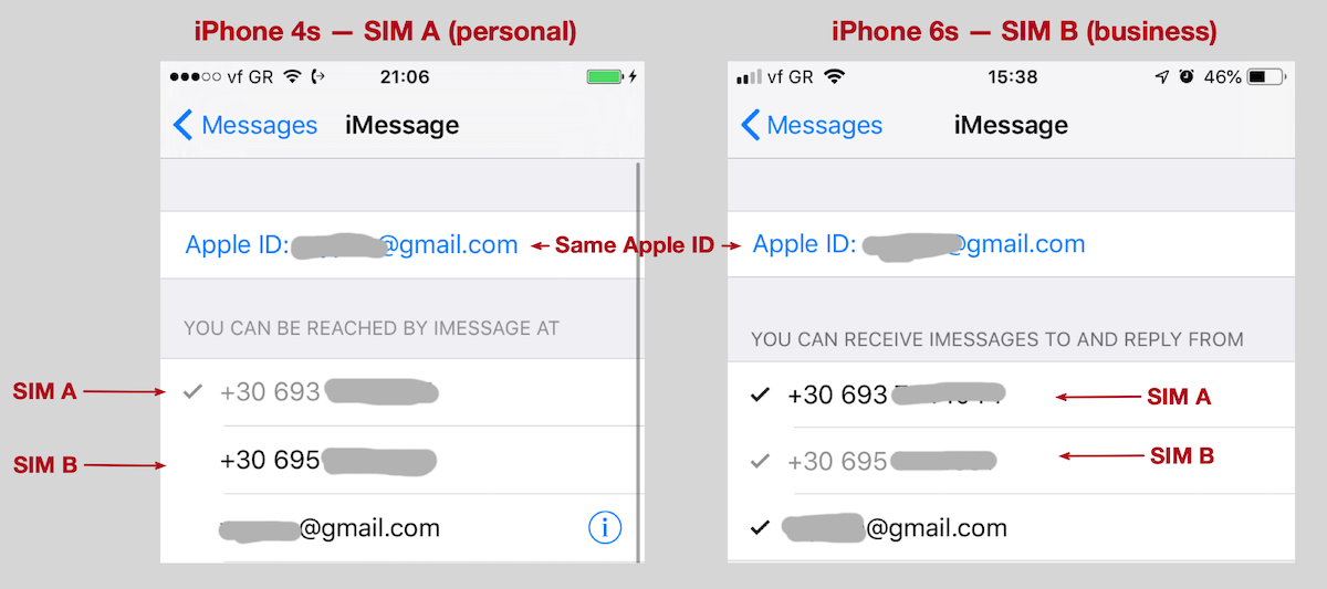 Screenshots of iMessage settings